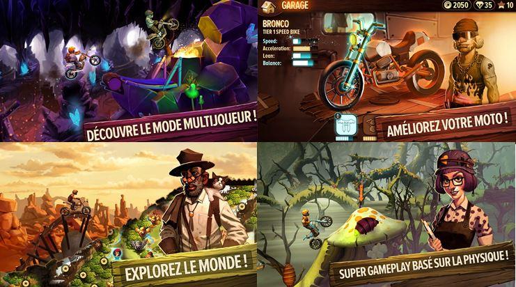 Capture d'écran smartphone jeu moto Trials Frontier