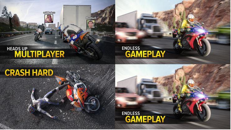 Captures d'écran smartphone jeu Highway Rider
